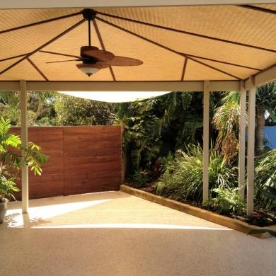 Covered concrete patio