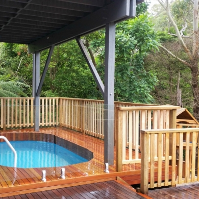 Elevated deck with a small pool