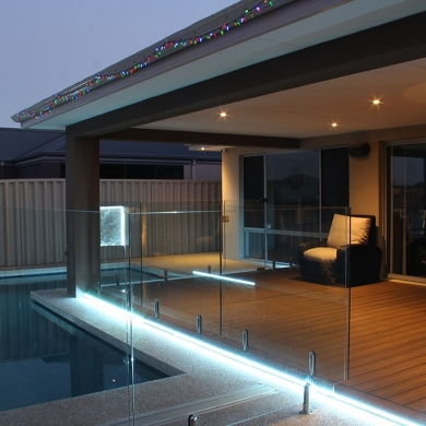Swimming pool with LED strip lights