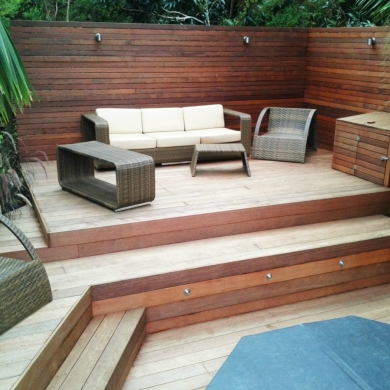 Multilevel decking with outdoor furniture
