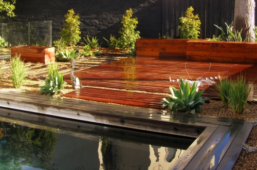 Backyard with wood decking