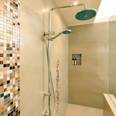 Mosaic accent tiles on shower wall