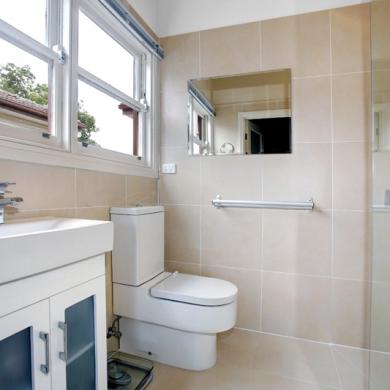 Bathroom with frameless shower