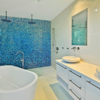 Blue mosaic accent wall