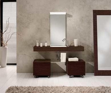 Wide wood vanity