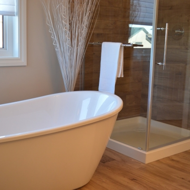 White and timber bathroom design