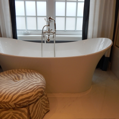Modern bath with traditional free-standing tub filler