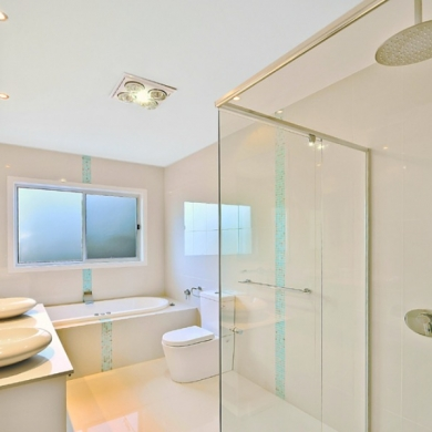 Modern bath with frameless shower