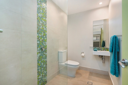 Fun green tiles as accent