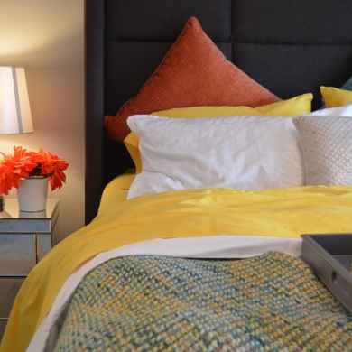 Colourful bed and pillows