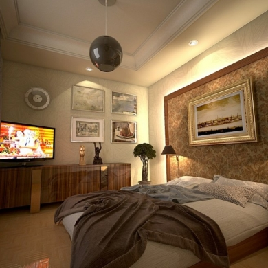 High-ceiling bedroom with a large headboard