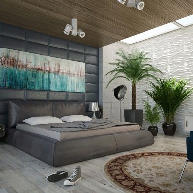 Stylish bachelor pad bedroom