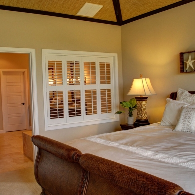 Plantation shutters as bedroom partition
