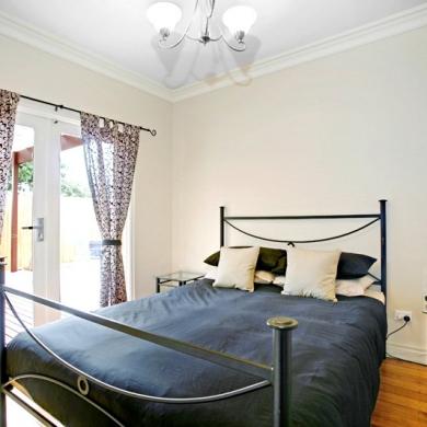 Bedroom with sliding doors
