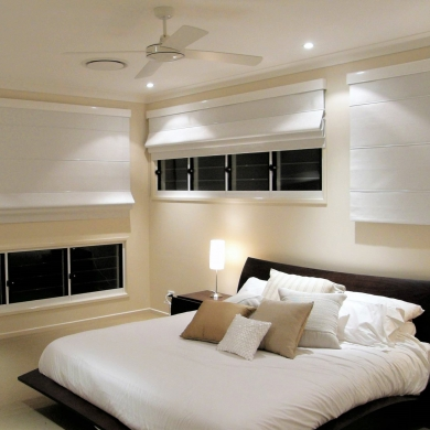 Cosy bedroom with modern blinds