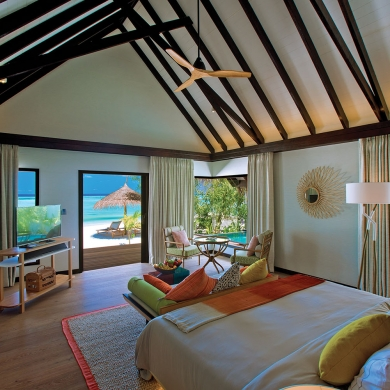High-ceiling, beachside bedroom