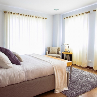 Thin cream curtains for a brighter room