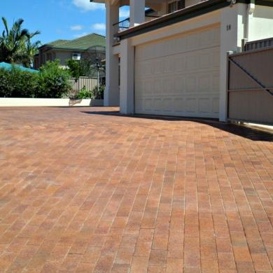Rustic brick driveway