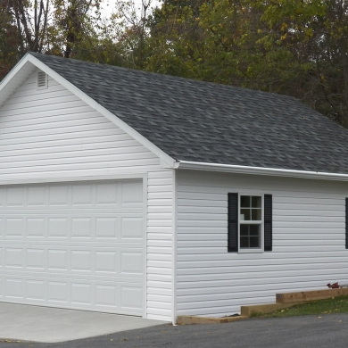 Monochromatic garage with gable roof