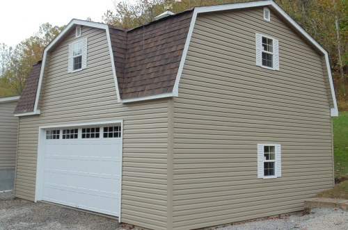 Spacious garage with gambrel roof