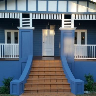 Blue and white facade