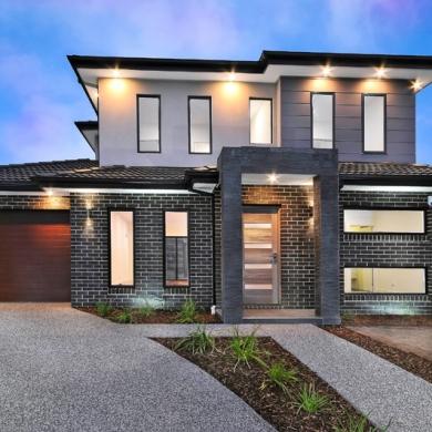 Monochromatic facade with classy black brick walls