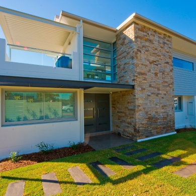 Contemporary design with stone veneers