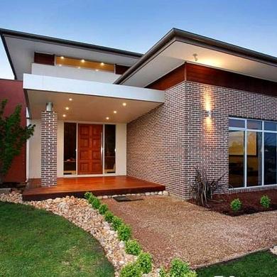 Brick and timber facade
