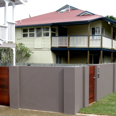 Solid concrete wall as fence