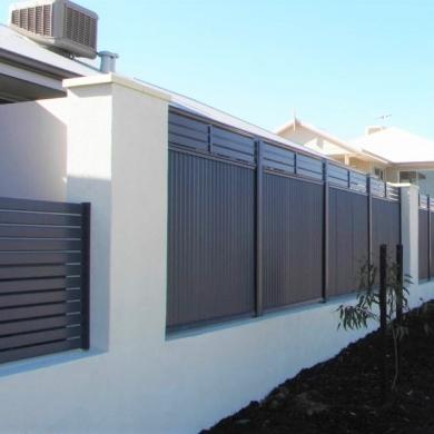 Dark gray fencing on white walls