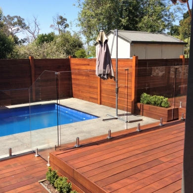 Glass fencing enclosing the pool area