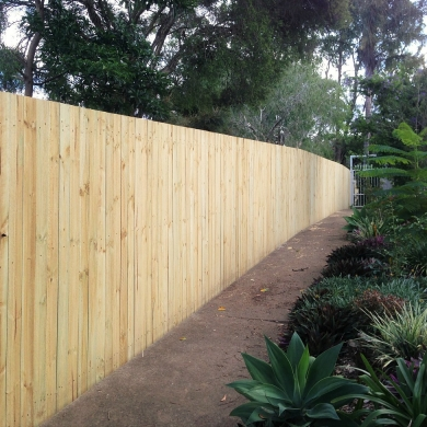 Unvarnished backyard fence
