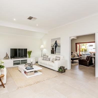 Spacious white living room