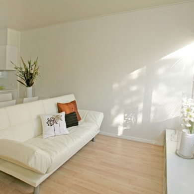 White furnishing and paint for a small room