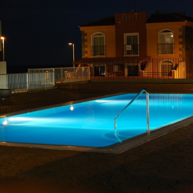Well-lit swimming pool