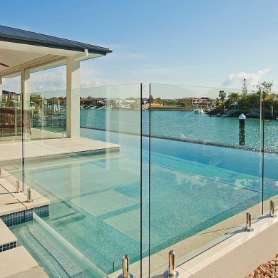 Elegant frameless glass pool fencing