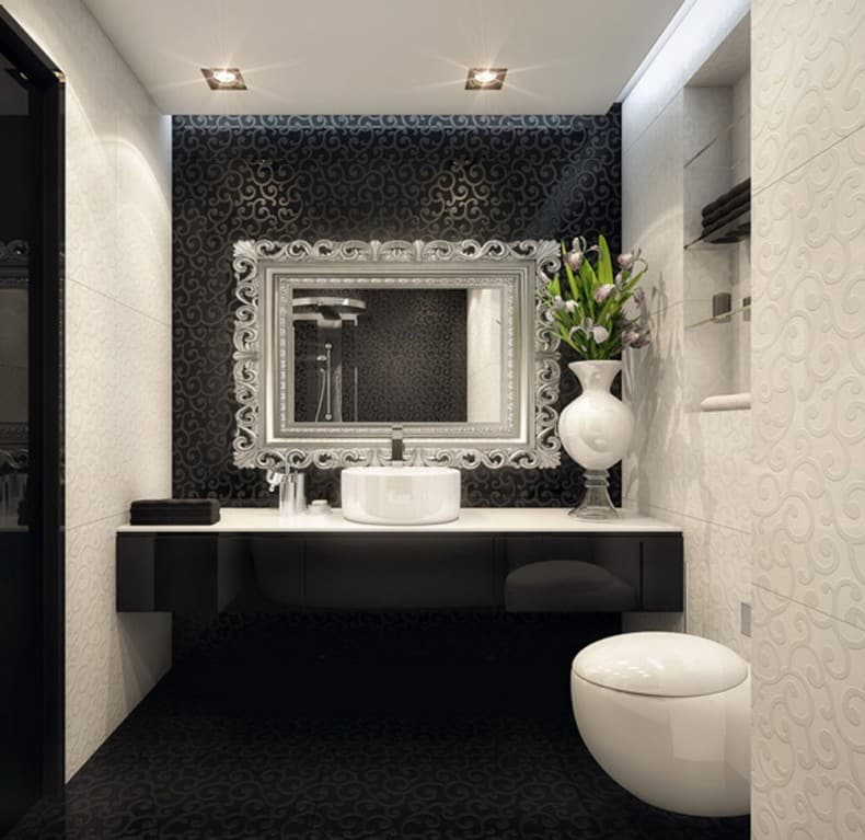 Bathroom design black and white for Dark bathrooms design