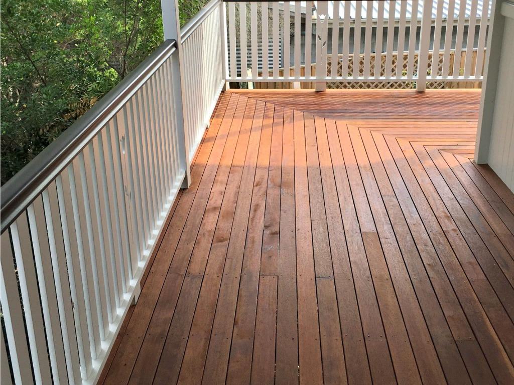 Timber decked patio floor