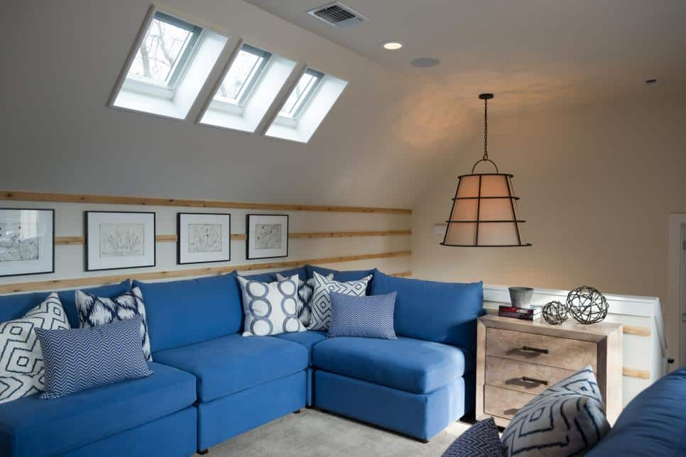 Installed skylight in attic lounge room