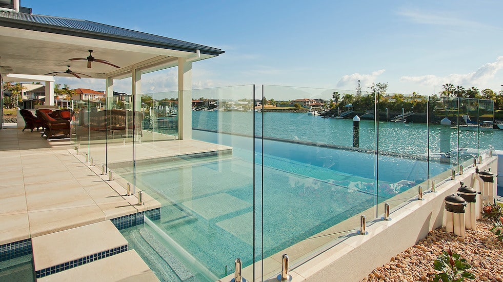 Glass fenced pool