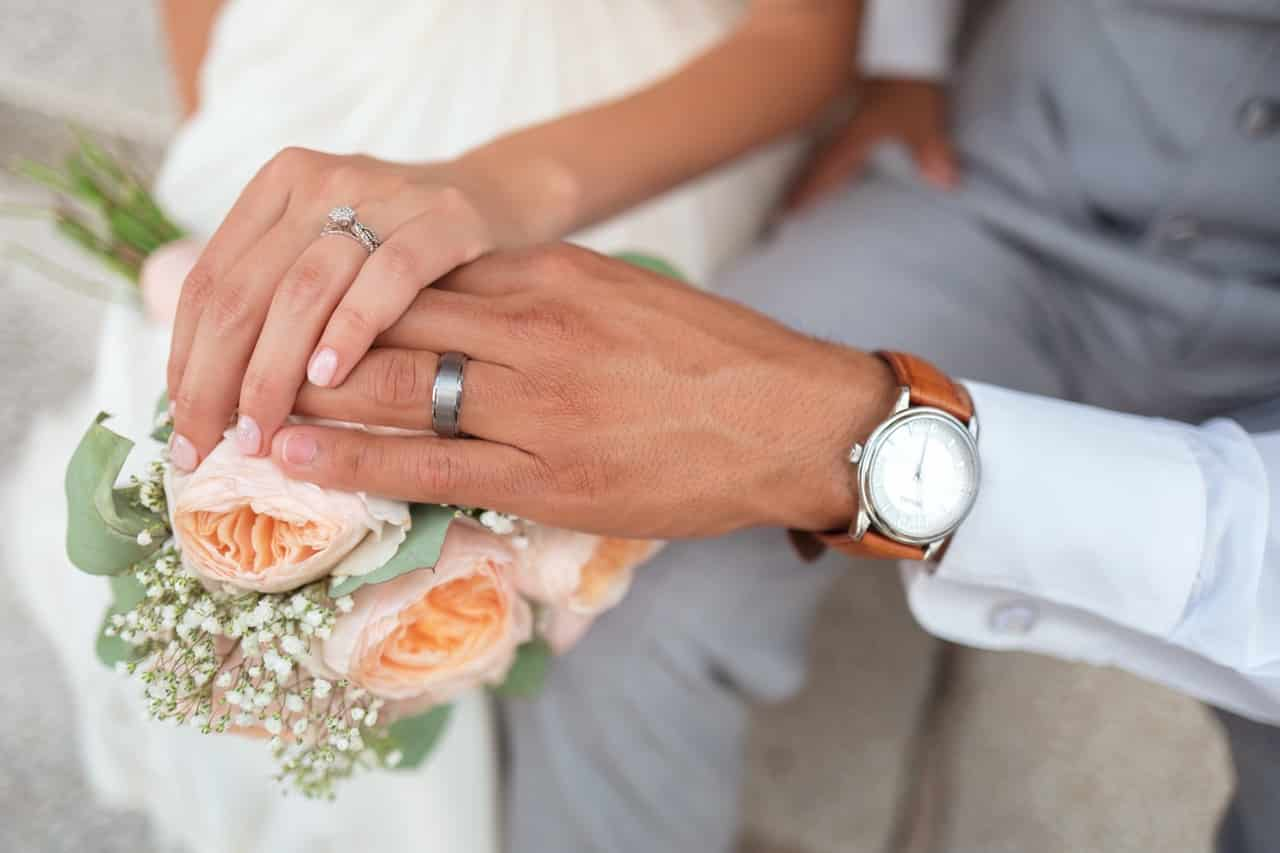 Wedding couple hold hands ring in finger