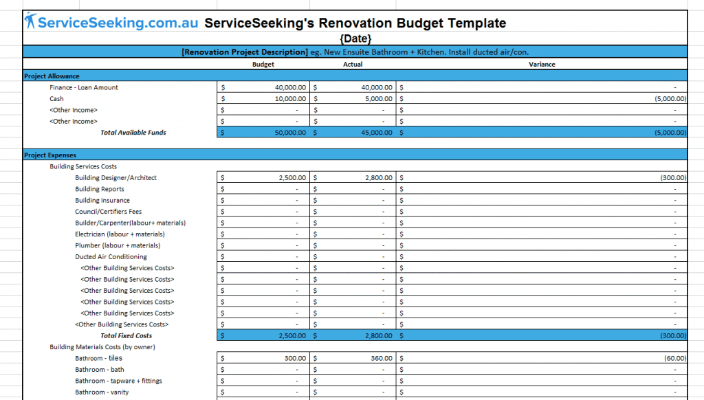 Renovation budget template serviceseeking blog for Bathroom remodel budget spreadsheet