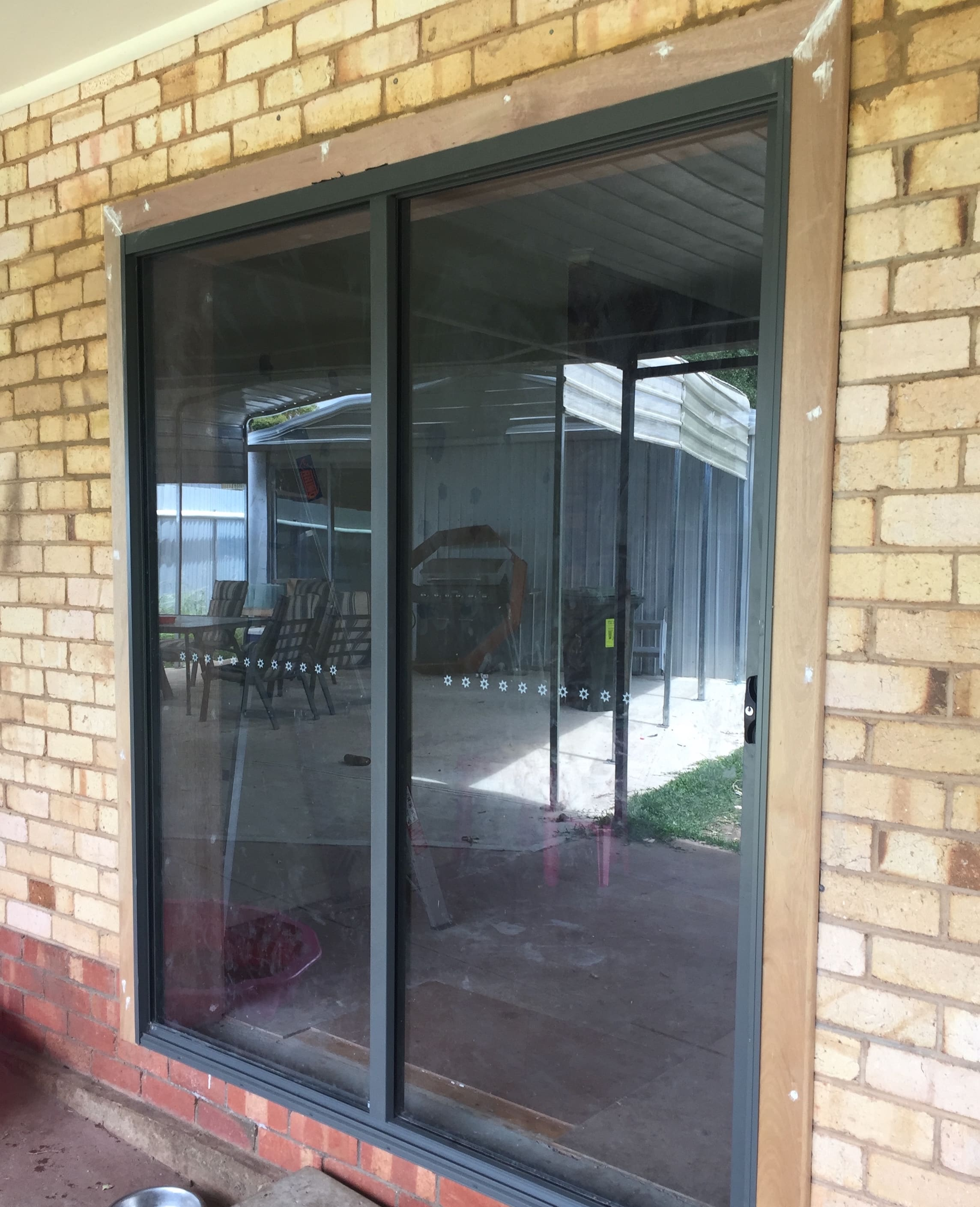 Sliding glass door into living room space