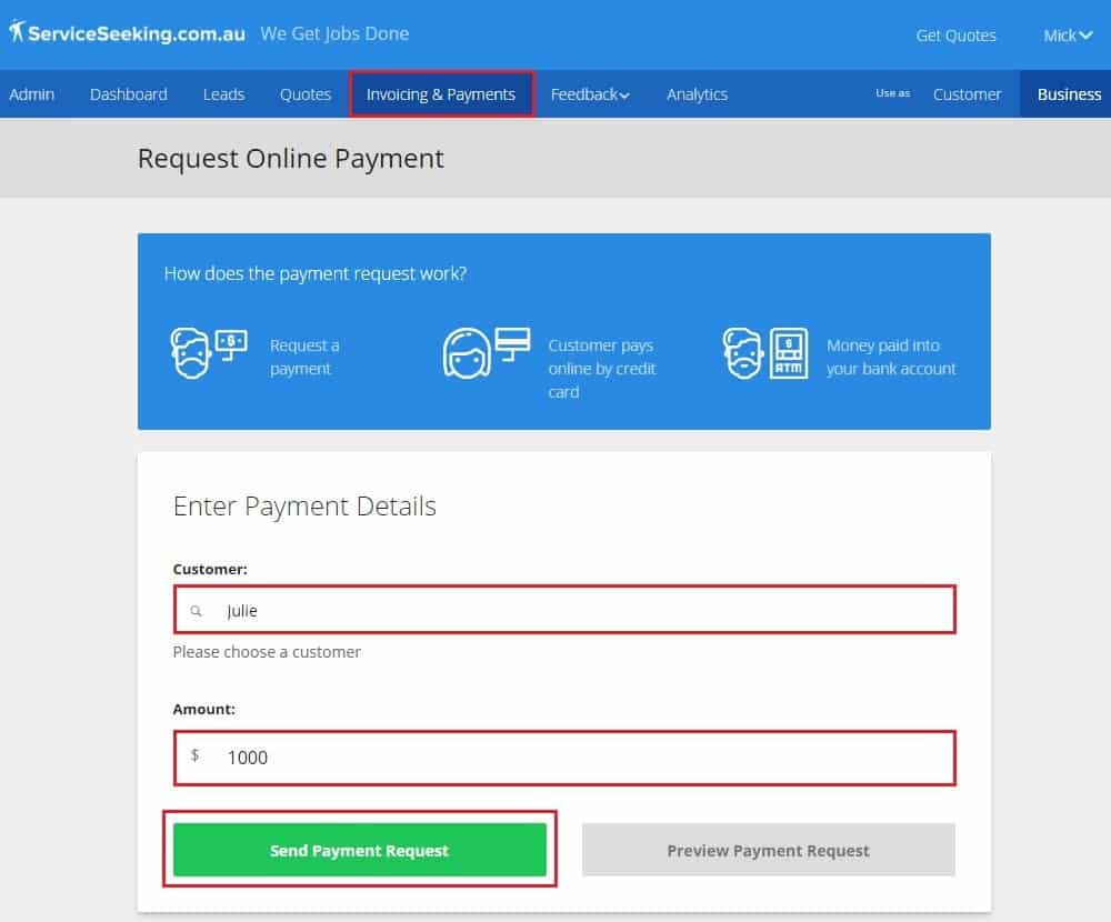 Request online payments - send payment request