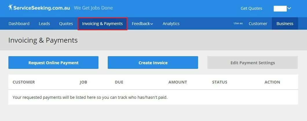 ServiceSeeking dashboard invoicing & payments