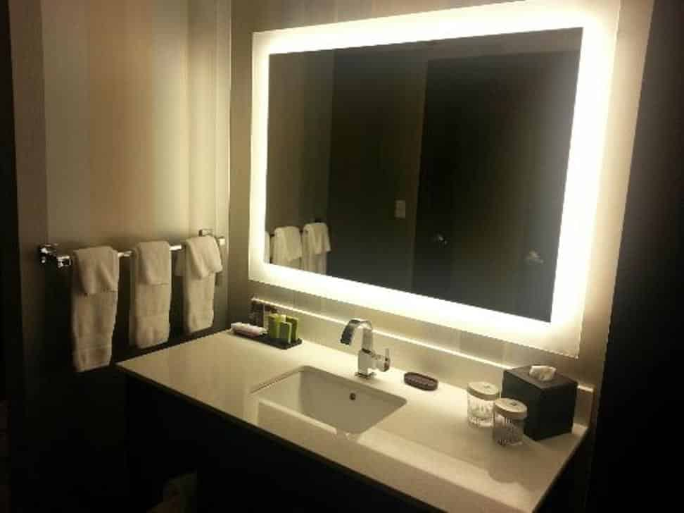 bathroom renovation backlit mirrors