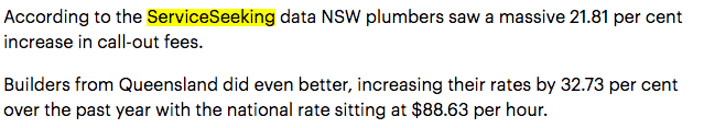ServiceSeeking data on tradie call out fees