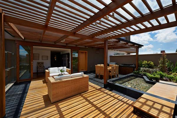 stylish open roof deck