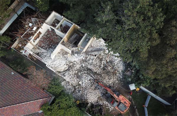 Building demolition - aerial view