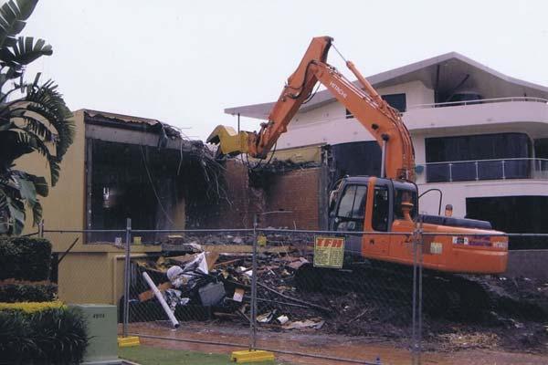 Brick residential building demolition